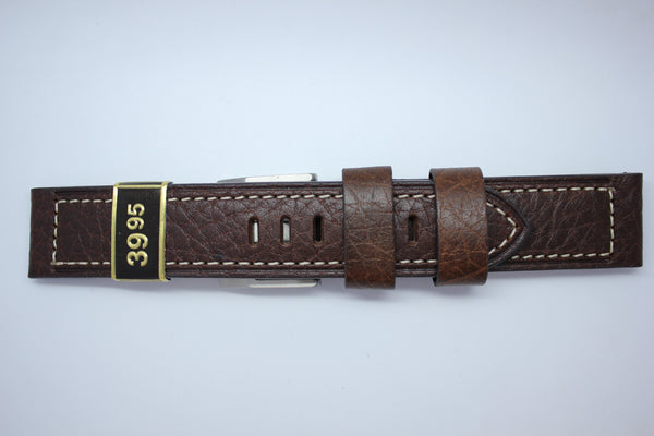22mm Heavy Flat Stitched Buffalo Grain Leather - Brown