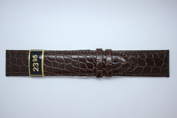 24mm Padded Stitched Croco Grain Leather - Brown