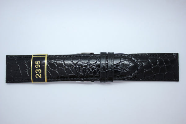 24mm Padded Stitched Croco Grain Leather - Black