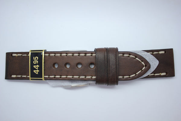 24mm Flat Thick Oil Stitched Leather - Brown
