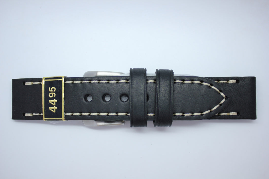 24mm Flat Thick Oil Stitched Leather - Black