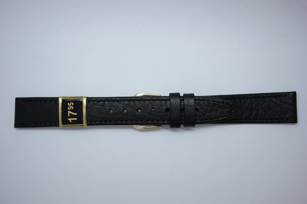 16mm Stitched Leather - Black