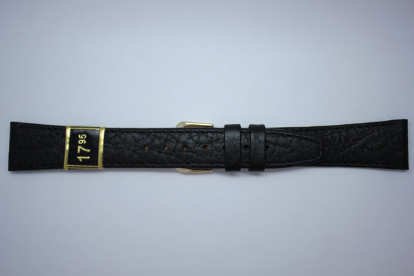 18mm Stitched Leather - Black