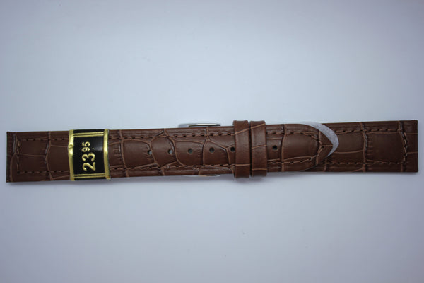 18mm Stitched Alligator Grain Leather - Brown