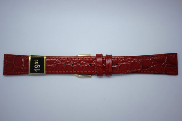 18mm Flat Stitched Croco Grain Leather - Red