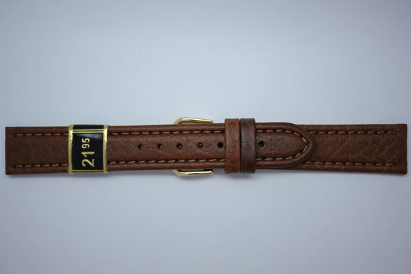 18mm Padded Stitched Italian Leather - Brown