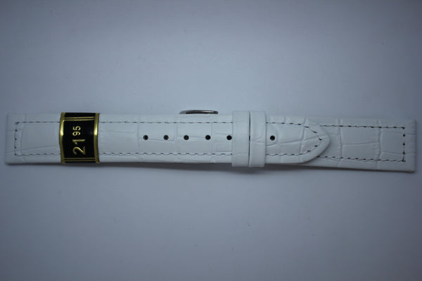 20mm Stitched Alligator Grain Leather - White