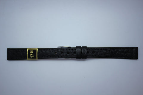 12mm Stitched Leather - Black