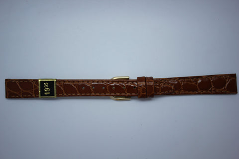 12mm Flat Stitched Croco Grain Leather - Light Brown