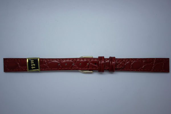 12mm Flat Stitched Croco Grain Leather - Red