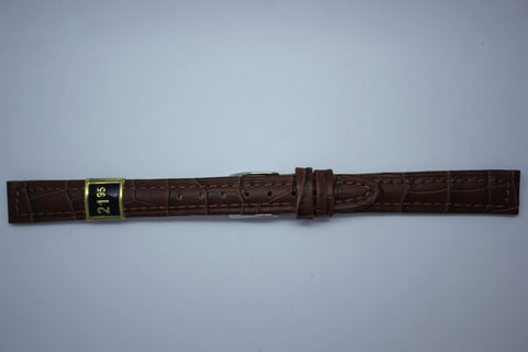 12mm Stitched Alligator Grain Leather - Brown