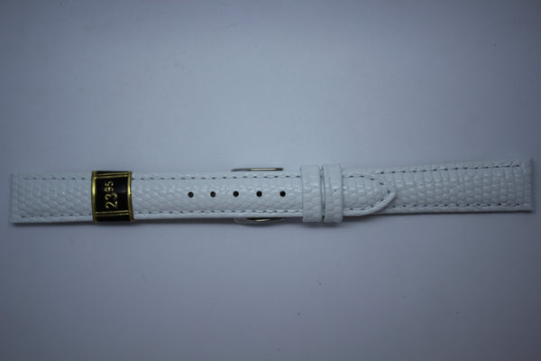 14mm Padded Stitched Shiny Lizard Grain Leather - White