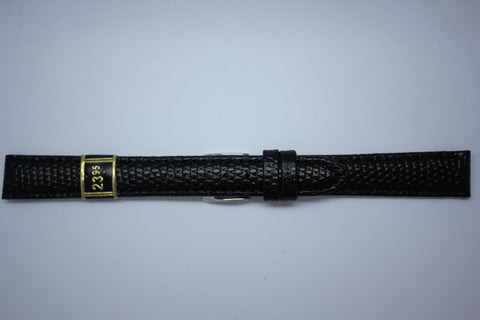 14mm Padded Stitched Shiny Lizard Grain Leather - Black