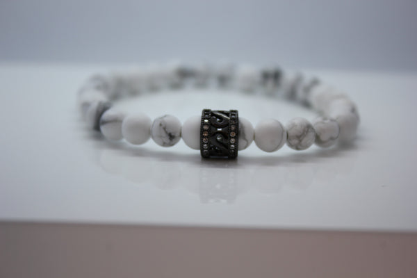 Frosted White Howlite with Black Cubic Zirconia Bead Bracelet - Arnik Jewellers