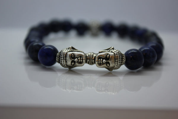 Lapis Lazuli with Double Silver Buddha Head Bead Bracelet - Arnik Jewellers
