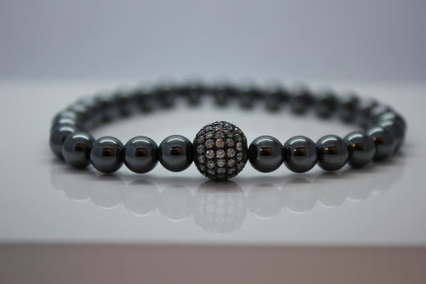 Hematite with Cubic Zirconia Ball Bead Bracelet - Arnik Jewellers