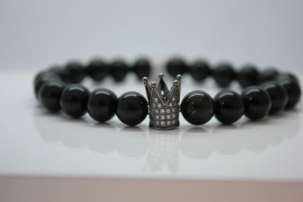 Black Obsidian with Silver Crown Bead Bracelet - Arnik Jewellers