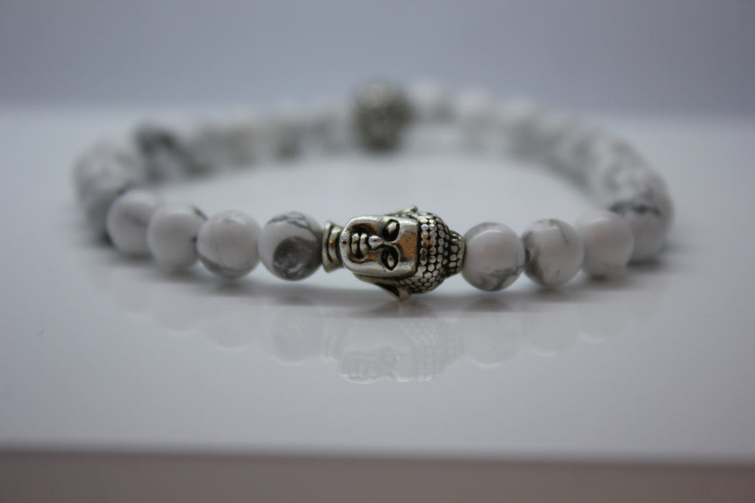 White Howlite with Buddha Head Bead Bracelet - Arnik Jewellers
