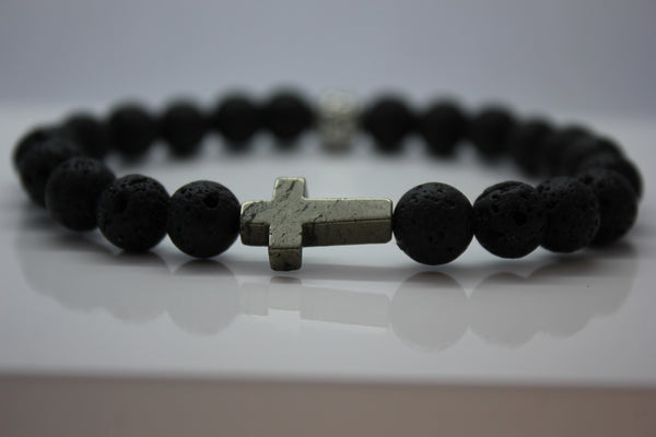 Black Lava with Pyrite Cross Bead Bracelet - Arnik Jewellers