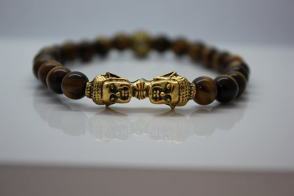 Tiger's Eye with Gold Double Buddha Head Bead Bracelet - Arnik Jewellers