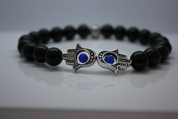 Black Obsidian with Double Hamza Hand Bead Bracelet - Arnik Jewellers
