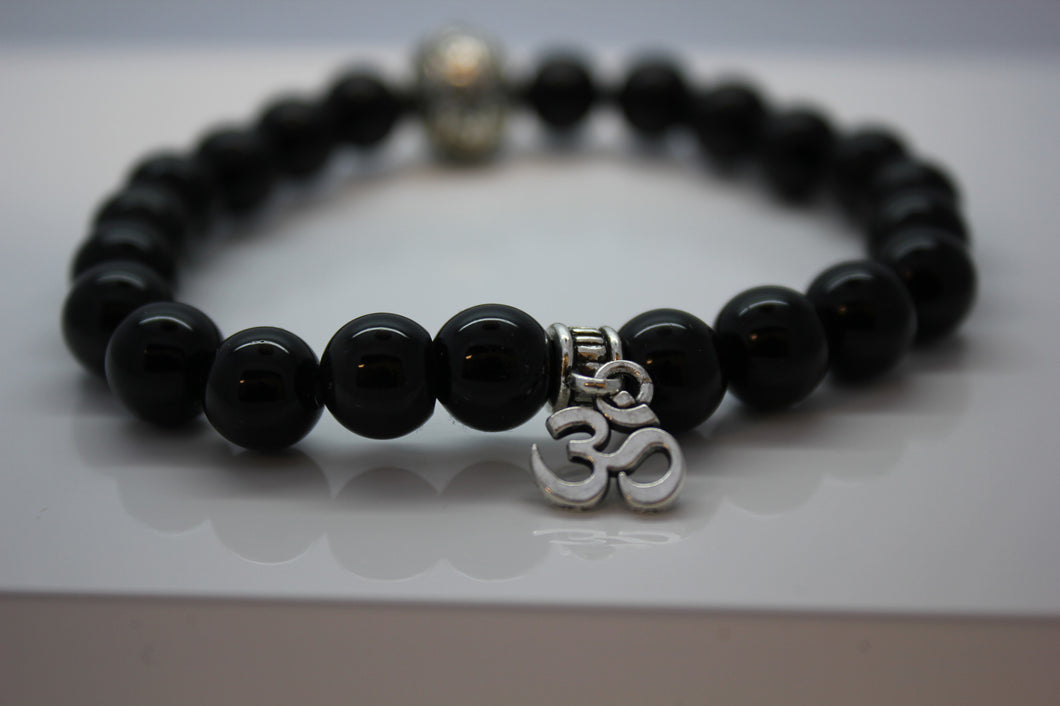 Black Obsidian with Aum Charm Bead Bracelet - Arnik Jewellers