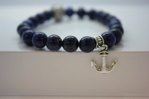 Lapis Lazuli with Anchor Charm Bead Bracelet - Arnik Jewellers
