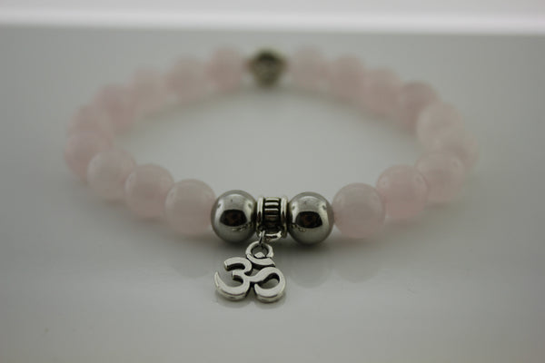 Rose Quartz with Aum Charm Bracelet - Arnik Jewellers
