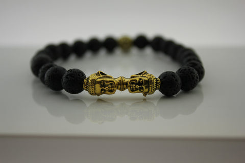 Black Lava with Gold Double Buddhas - Arnik Jewellers