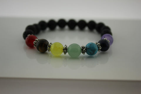 Chakra Bracelet set on Black Lava - Arnik Jewellers