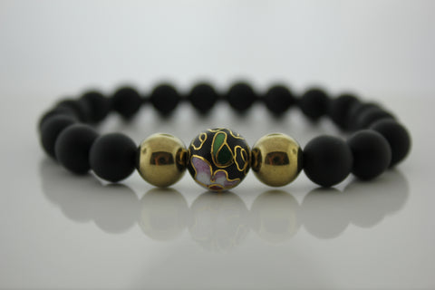 Matte Black Onyx 8mm with Cloisonne Bead - Arnik Jewellers