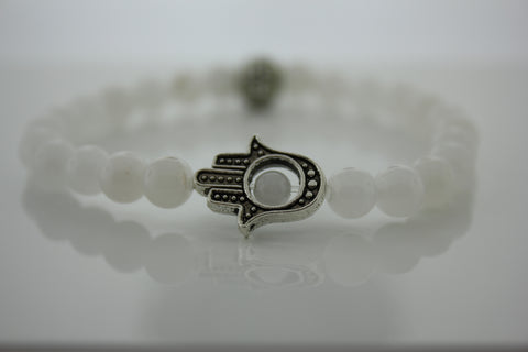 6mm White Jade with Hamsa Hand  - Arnik Jewellers