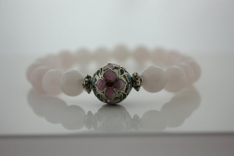 Rose Quartz with pink cloisonne bead- Arnik Jewellers
