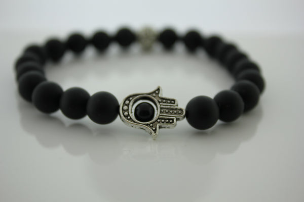 Matte Black Onyx 8mm with Hansa Hand- Arnik Jewellers