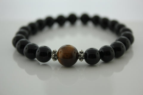 8mm Black Onyx with Tiger's Eye bead- Arnik Jewellers