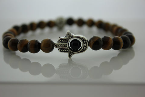 6mm Tiger's Eye with Hamsa Hand- Arnik Jewellers