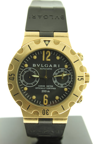 Bvlgari Diagono Scuba Chronograph Automatic Solid 18K Yellow Gold Watch SC38G - Arnik Jewellers