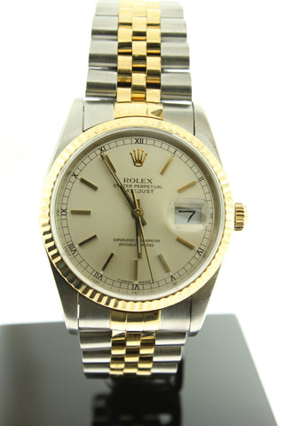 Rolex Datejust 18k Gold & Stainless Steel Silver Dial 36mm 16233 - Arnik Jewellers