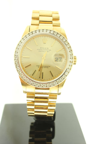 Rolex Datejust 18K Solid Yellow Gold with Diamond Bezel Champagne Dial 36mm 16018 - Arnik Jewellers