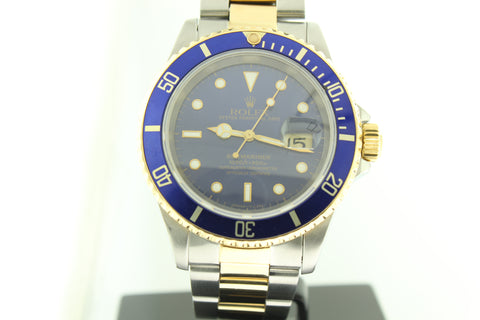 Rolex Submariner 16613 Two Tone 18k Yellow Gold & Steel Blue Dial 40mm - Arnik Jewellers
