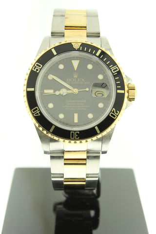 Rolex Submariner 16613 Two Tone 18k Yellow Gold & Steel Black Dial 40mm - Arnik Jewellers