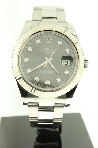 Rolex Datejust II Stainless Steel 41mm Dark Rhodium Diamond Dial 18K White Gold Fluted Bezel Oyster 116334 - Arnik Jewellers