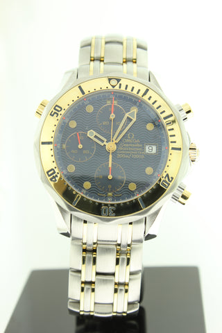 Omega Seamaster 300 Chronograph 18K Yellow Gold & Steel Blue Wave Dial 2398.80.00 - Arnik Jewellers