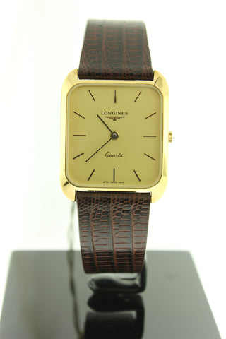 Longines Ultra Thin Gold PVD Quartz Leather Band Rectangle Case - Arnik Jewellers