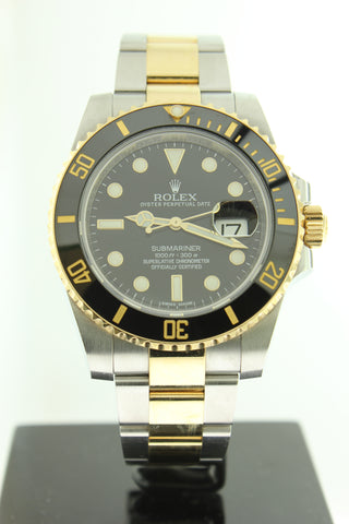 Rolex Submariner 18K Yellow Gold & Stainless Steel Black Dial 116613LN Ceramic Bezel - Arnik Jewellers