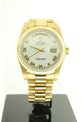 Rolex Day Date President Solid 18K Yellow Gold White Roman Dial 18038 - Arnik Jewellers
