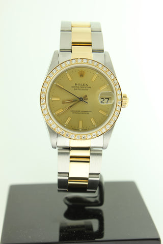 Rolex Datejust 31mm 18K Yellow Gold & Stainless Steel Champagne Diamond Bezel 68273 - Arnik Jewellers
