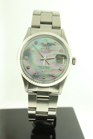 Rolex Datejust 36mm Stainless Steel Oyster Custom Diamond Mother of Pearl Dial - Arnik Jewellers