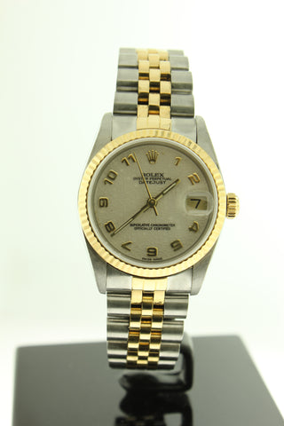 Rolex Datejust 31mm 18K Yellow Gold & Stainless Steel Jubilee Monogram Dial 68273 - Arnik Jewellers