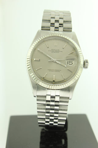 Rolex Datejust 36mm Stainless Steel Jubilee 18K White Gold Fluted Bezel Silver Dial 1601